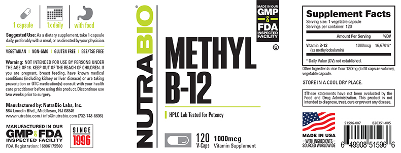 Label Image for NutraBio Methyl B-12 (1000mcg) - 120 Vegetable Capsules