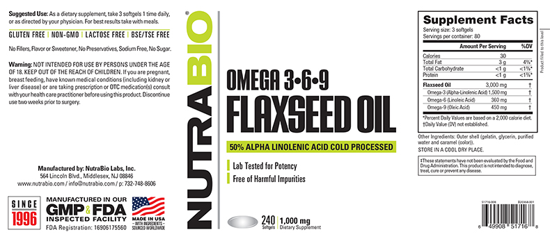 Label Image for NutraBio Flaxseed Oil (1000mg) - 240 Softgels