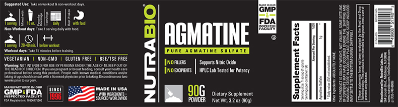 Label Image for NutraBio Agmatine Sulfate Powder - 90 Grams