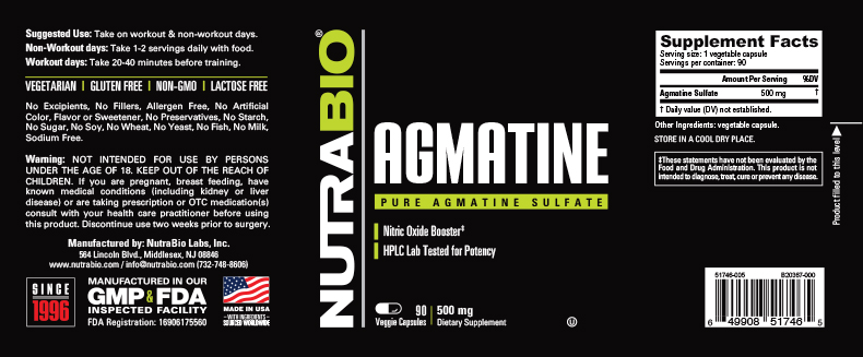 Label Image for NutraBio Agmatine Sulfate (500mg) - 90 Vegetable Capsules