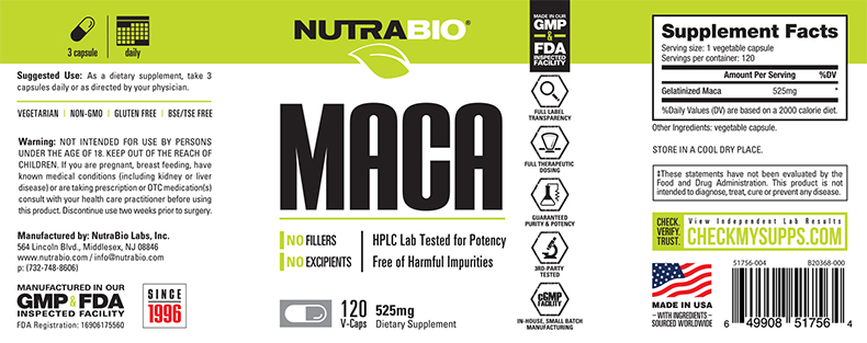 Label Image for NutraBio Maca (525mg) - 120 Vegetable Capsules