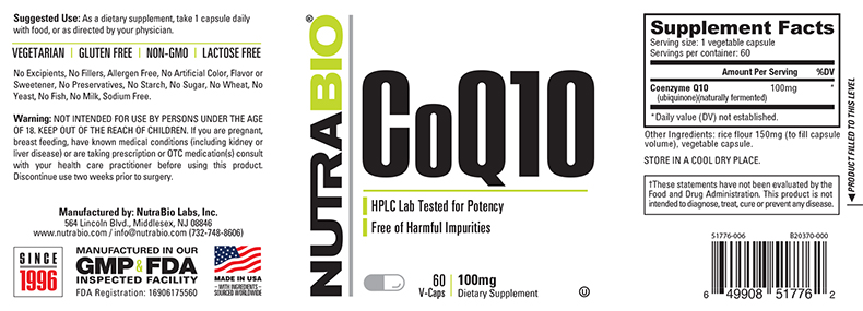 Label Image for NutraBio CoQ10 (100mg) - 60 Vegetable Capsules
