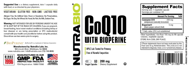 Label Image for CoQ10 (200mg) - 60 Vegetable Capsules