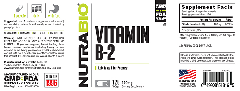 Label Image for NutraBio Vitamin B-2 Riboflavin (100mg) - 120 Vegetable Capsules