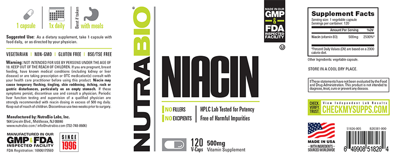Label Image for NutraBio Niacin (500mg) - 120 Vegetable Capsules