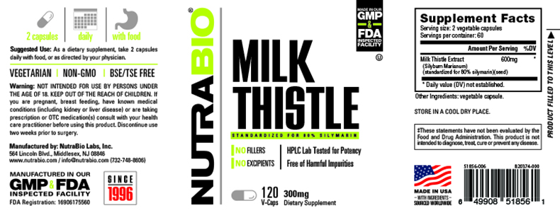 Label Image for NutraBio Milk Thistle (600mg) - 120 Vegetable Capsules