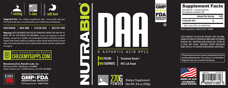 Label Image for NutraBio D-Aspartic Acid Powder - 270 Grams