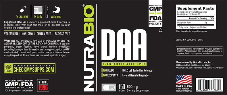 Label Image for NutraBio D-Aspartic Acid (600mg) - 150 Vegetable Capsules
