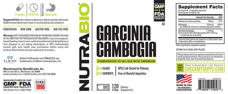 Label Image for NutraBio Garcinia Cambogia - 120 Vegetable Capsules