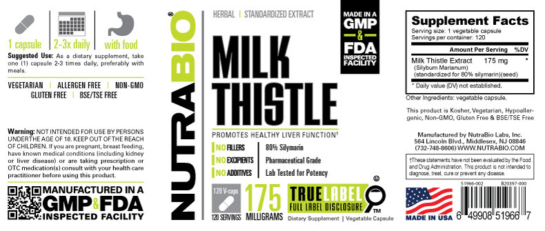 Label Image for NutraBio Milk Thistle (175mg) - 120 Vegetable Capsules
