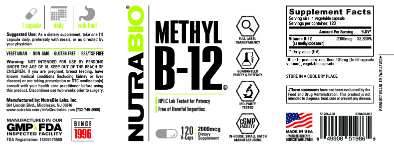 Label Image for NutraBio Methyl B-12 (2000mcg) - 120 Vegetable Capsules