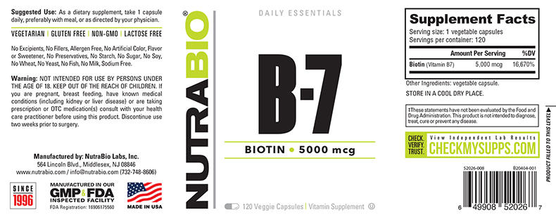 Label Image for NutraBio Biotin (5000mcg) - 120 Vegetable Capsules