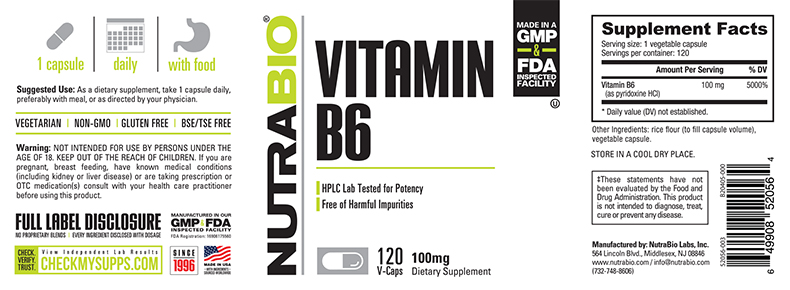 Label Image for NutraBio Vitamin B-6 (100mg) - 120 Vegetable Capsules