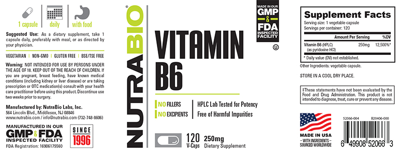 Label Image for NutraBio Vitamin B-6 (250mg) - 120 Vegetable Capsules