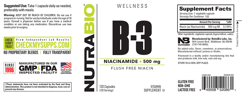 Label Image for NutraBio Niacinamide (500mg) - 120 Vegetable Capsules