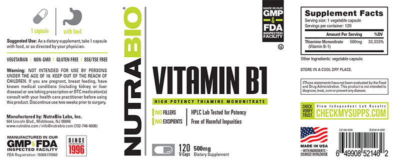 Label Image for NutraBio Vitamin B-1 (500mg) - 120 Vegetable Capsules