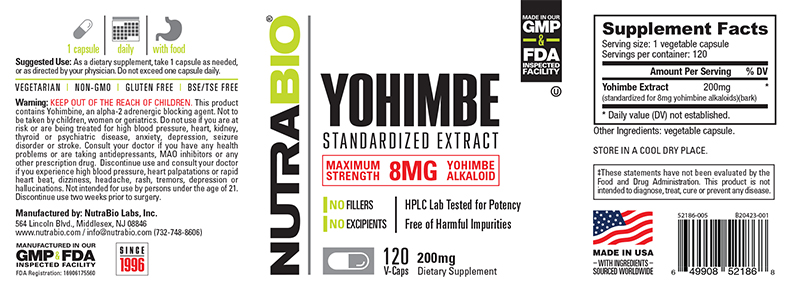 Label Image for NutraBio Yohimbe (8mg) - 120 Vegetable Capsules
