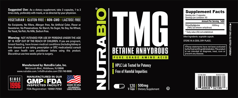 Label Image for NutraBio TMG (Betaine Anhydrous) (500mg) - 120 Vegetable Capsules