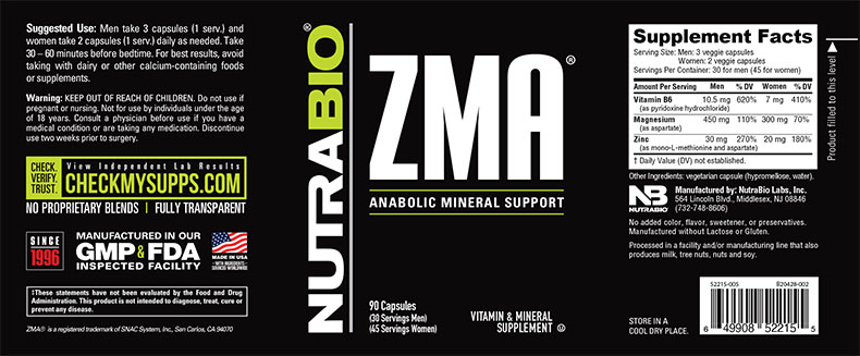 Label Image for NutraBio ZMA - 90 Vegetable Capsules