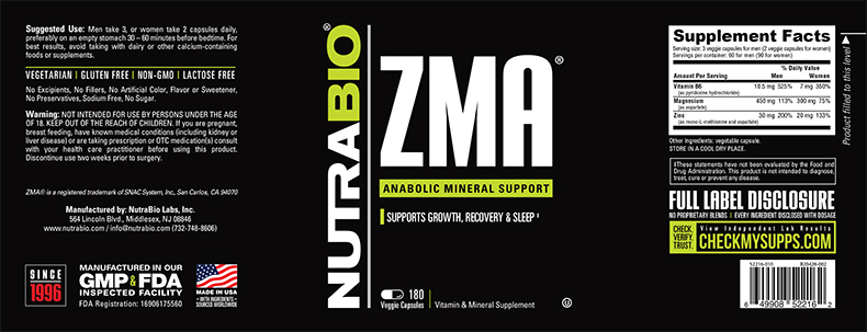 Label Image for NutraBio ZMA - 180 Vegetable Capsules