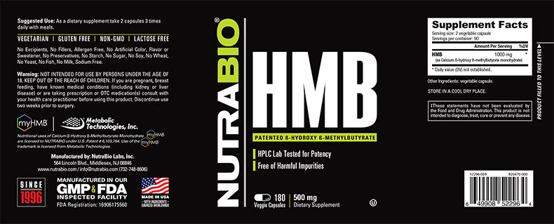 Label Image for NutraBio HMB (1000mg) - 180 Vegetable Capsules