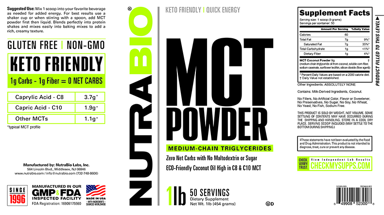 Label Image for NutraBio MCT Powder - 1 Pound