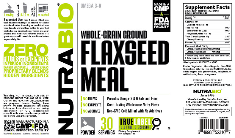 Label Image for NutraBio Flaxseed Meal - 1 Pound