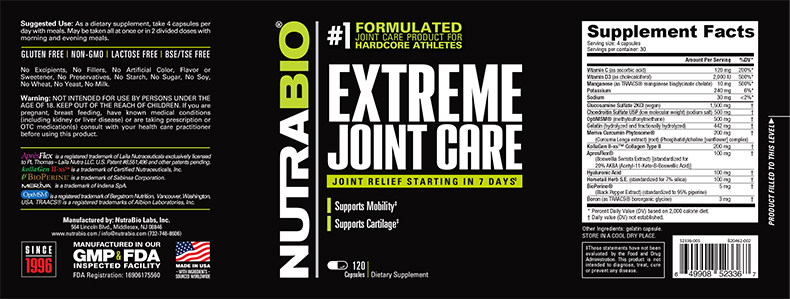 Label Image for NutraBio Extreme Joint Care - 120 Vegetable Capsules