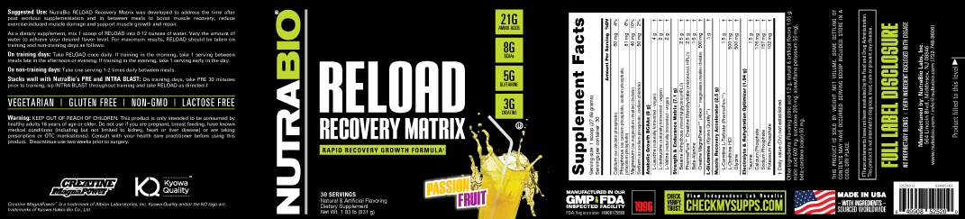 Label Image for NutraBio Reload - 30 Servings