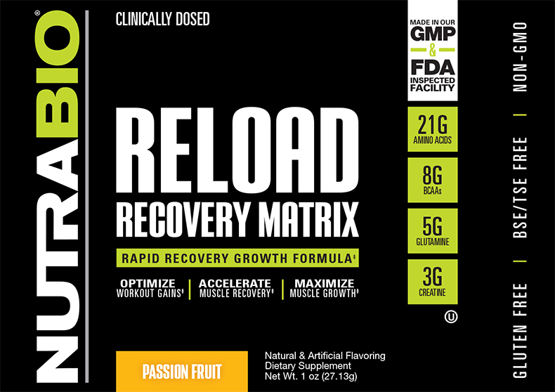 Label Image for NutraBio RELOAD - To-Go Pack (Passion Fruit)