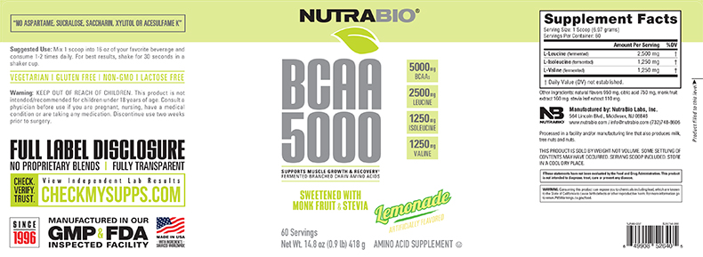 Label Image for BCAA Natural Powder - 400 Grams