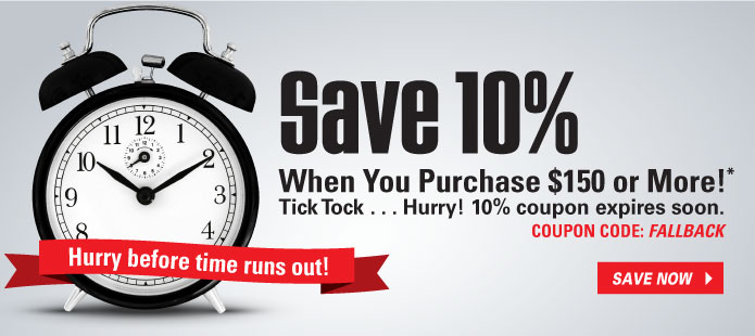 Save 10% off an order of $150 or more when you use coupon code: FALLBACK
