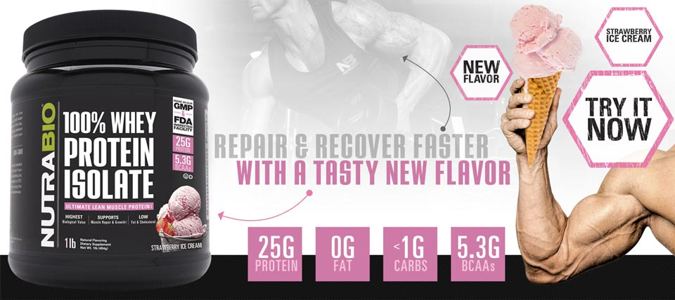 NutraBio Whey Protein Isolate, now available in Strawberry Ice Cream!