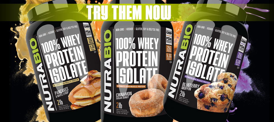 NutraBio Whey Protein Isolate, now available in 3 new flavors!