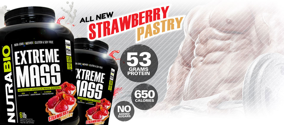 Extreme Mass gainer now available in Strawberry Pastry!