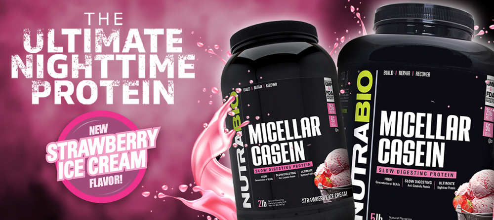 Micellar Casein, now available in Strawberry Ice Cream!