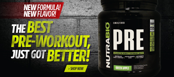NutraBio's PRE! Pre-Workout Formulation!