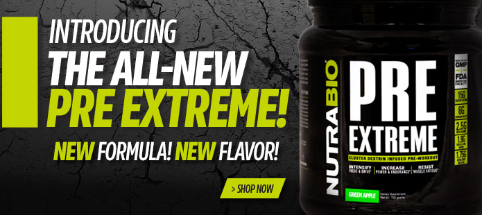 NutraBio's PRE Extreme! Pre-Workout Formulation!