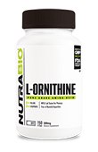 NutraBio Ornithine 500MG - 150 Vegetable Capsules