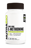 NutraBio Methionine (750mg) - 240 Vegetable Capsules