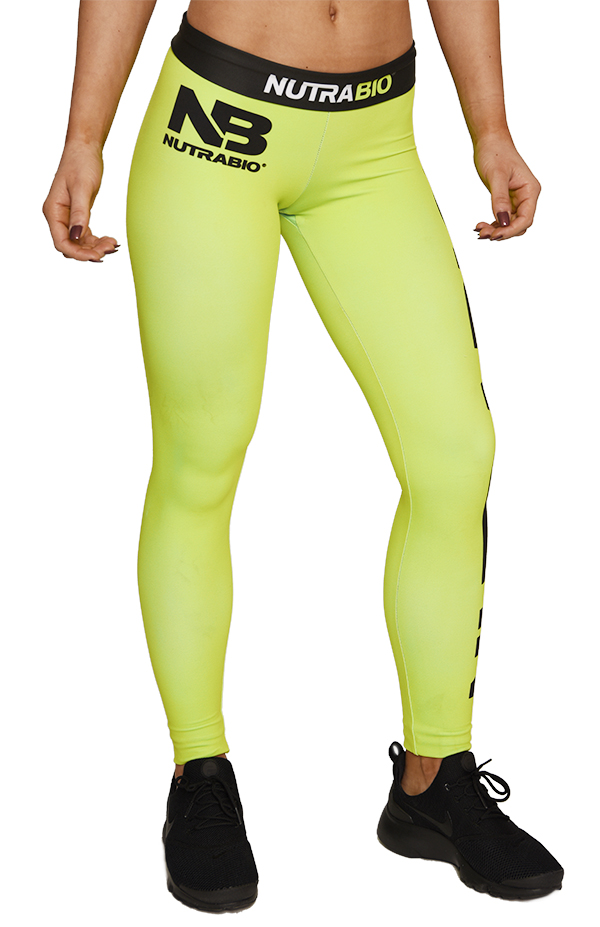 Neon Green Black Leggings (Women)