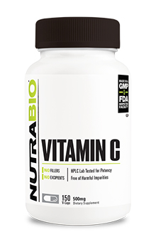 NutraBio Vitamin C (500mg) - 150 Vegetable Capsules