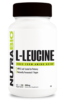 NutraBio Leucine 400mg - 240 Vegetable Capsules