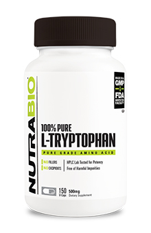 NutraBio Tryptophan (500mg) - 150 Vegetable Capsules