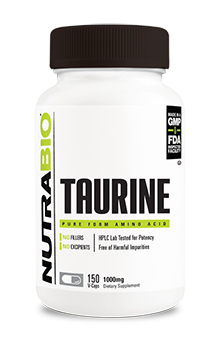 NutraBio Taurine (1000mg) - 150 Vegetable Capsules