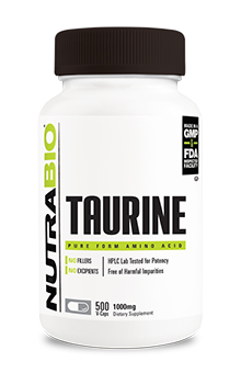 NutraBio Taurine (1000mg) - 500 Vegetable Capsules
