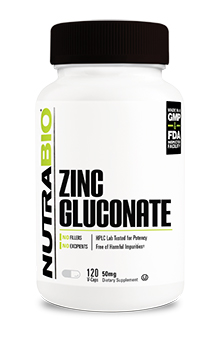 NutraBio Zinc Gluconate (50mg) - 120 Vegetable Capsules