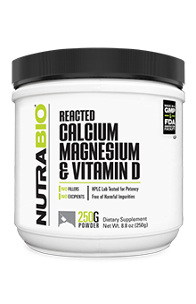 NutraBio Reacted Calcium Magnesium Vitamin-D - 250 Grams