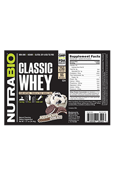 NutraBio Classic Whey Protein - To-Go Pack (Cookies and Cream)