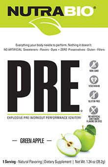 NutraBio PRE Workout Non-Artificial - To-Go Pack (Green Apple)